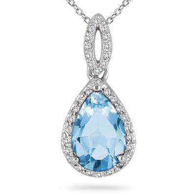 Pear Shape Blue Topaz and Diamond Pendant 10K White Gold