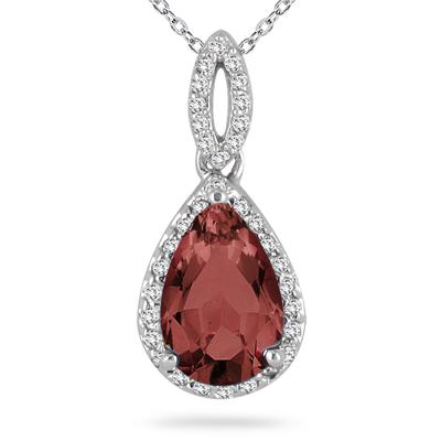 Pear Shape Garnet and Diamond Pendant in 10kt White Gold