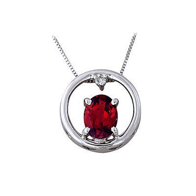 Garnet and Diamond Circle Pendant