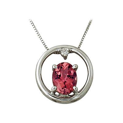 10kt White Gold Pink Tourmaline and Diamond Pendant