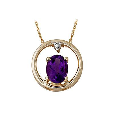Oval-Cut Amethyst and Diamond Pendant 10kt Yellow Gold