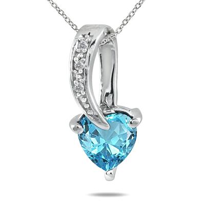 Blue Topaz and Diamond Heart Pendant in .925 Sterling Silver