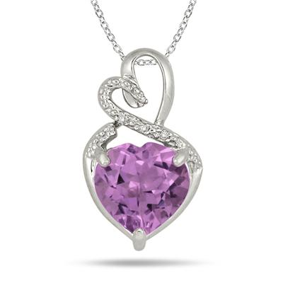 4.00 Carat Amethyst and Diamond Heart Pendant in .925 Sterling Silver