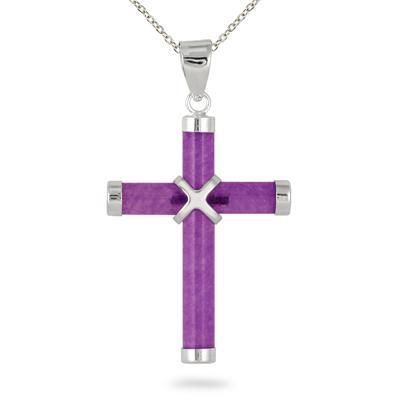 All Natural Lavender Jade Cross Pendant in .925 Sterling Silver