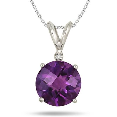 3.00 Carat Checkerboard Amethyst and Diamond Pendant in .925 Sterling Silver