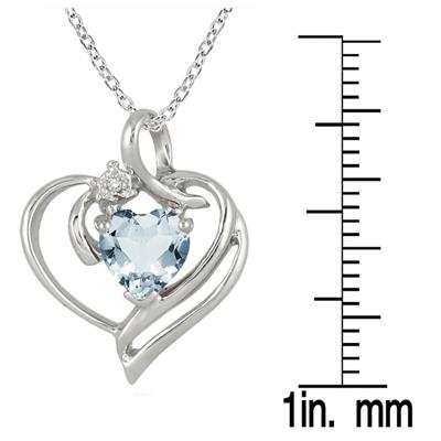 1.00 Carat Heart Shaped Genuine Aquamarine and Diamond Pendant in .925 Sterling Silver
