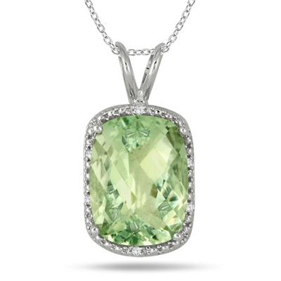 10 Carat Green Amethyst and Diamond Pendant in .925 Sterling Silver