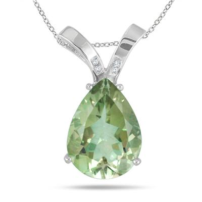 8.00 Carat Pear Shape Green Amethyst and Diamond Pendant in .925 Sterling Silver
