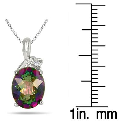 3.00 Carat Mystic Topaz and Diamond Pendant in .925 Sterling Silver