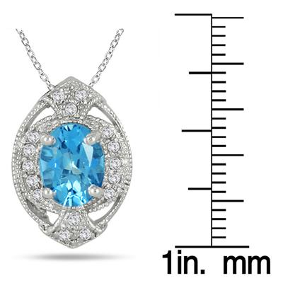 2.25 Carat Swiss Blue Topaz and Diamond Antique Pendant in .925 Sterling Silver