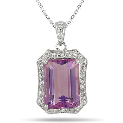 7 Carat Emerald Cut Amethyst and Diamond Pendant in .925 Sterling Silver