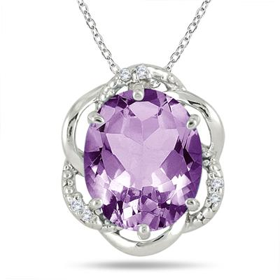 5.25 Carat Oval Amethyst and Diamond Pendant in .925 Sterling Silver