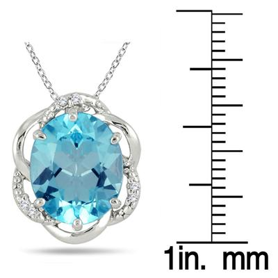 5.25 Carat Oval Blue Topaz and Diamond Pendant in .925 Sterling Silver
