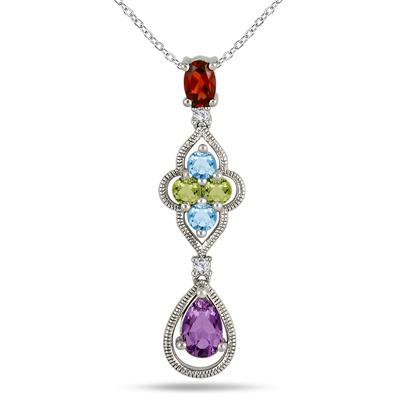 1.75 Carat Multicolor Gemstone Pendant in .925 Sterling Silver