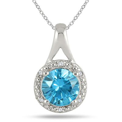 2.50 Carat Swiss Blue Topaz and Diamond Pendant in .925 Sterling Silver