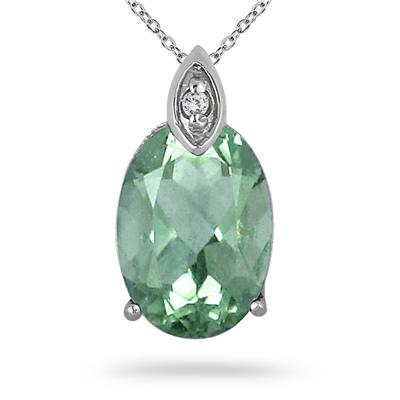 5 Carat Oval Green Amethyst and Diamond Pendant in .925 Sterling Silver