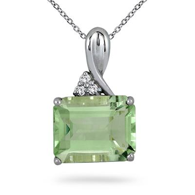 7.50 Carat All Natural Green Amethyst & Diamond Pendant in .925 Sterling Silver