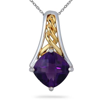 2.75 Carat Amethyst 18K Gold Plated Two Tone Pendant in .925 Sterling Silver