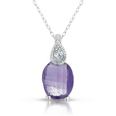 Barrel Amethyst and White Topaz Pendant in .925 Sterling Silver