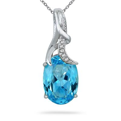 7.25 Carat Blue Topaz and Diamond Pendant in .925 Sterling Silver