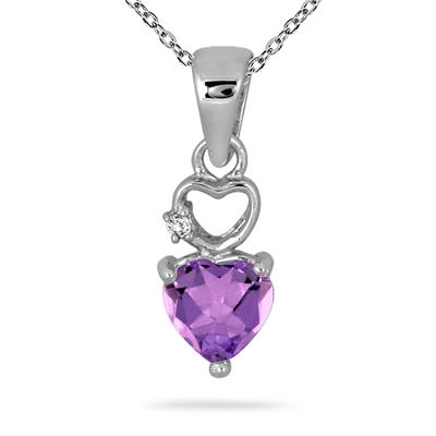 1/2 Carat Heart Shape Amethyst and Diamond Pendant in .925 Sterling Silver