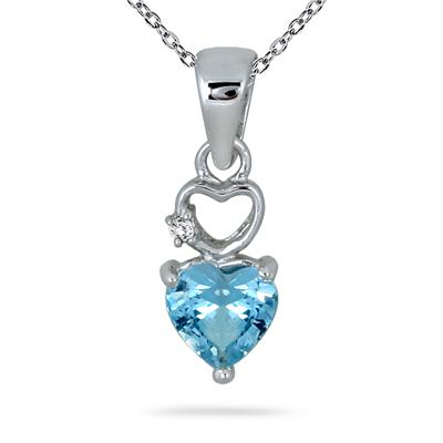 1/2 Carat Heart Shape Blue Topaz and Diamond Pendant in .925 Sterling Silver