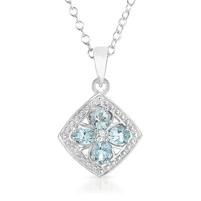 1 Carat Oval Aquamarine and White Topaz Pendant in .925 Sterling Silver