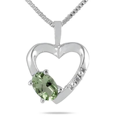 Green Amethyst and Diamond Heart Pendant in 10kt White Gold