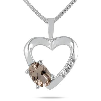 Smokey Quartz and Diamond Heart Pendant in 10kt White Gold