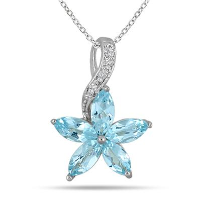1.00 Carat Aquamarine and Diamond Flower Pendant in .925 Sterling Silver