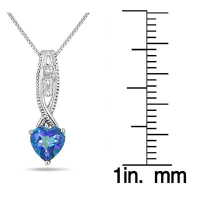 6MM Sheer Luck Topaz Heart and Diamond Pendant in .925 Sterling Silver