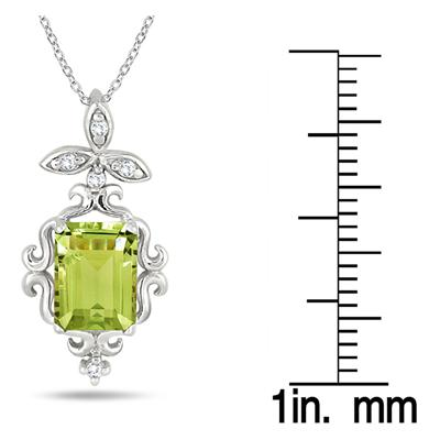 1.75 Carat Emerald Cut Peridot and Diamond Estate Styled Pendant in .925 Sterling Silver