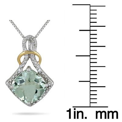 2.75 Carat Green Amethyst and Diamond Pendant in 18K Gold Plated .925 Sterling Silver
