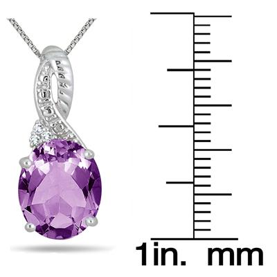 4.25 Carat Oval Amethyst and Diamond Pendant in .925 Sterling Silver