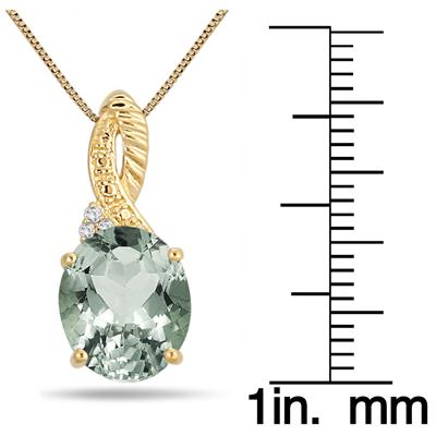 4.25 Carat Oval Green Amethyst and Diamond Pendant in 18K Gold Plated Sterling Silver
