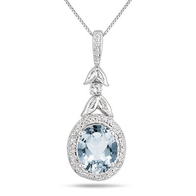 2.75 Carat Aquamarine and Diamond Drop Pendant in .925 Sterling Silver