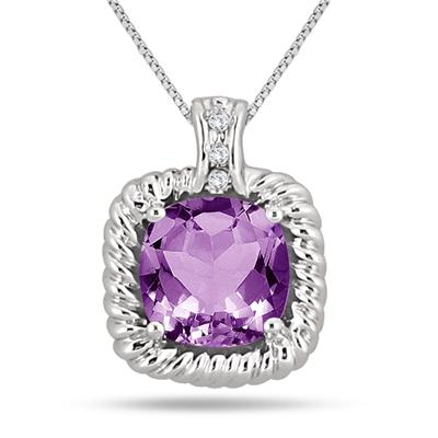 3.35 Carat All Natural Amethyst & Diamond Pendant in .925 Sterling Silver