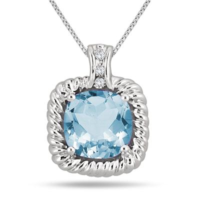 4.75 Cushion Blue Topaz & Diamond Rope Pendant in .925 Sterling Silver