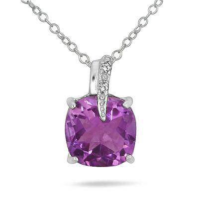 1.80 Carat Cushion Cut Amethyst and Diamond Pendant in .925 Sterling Silver
