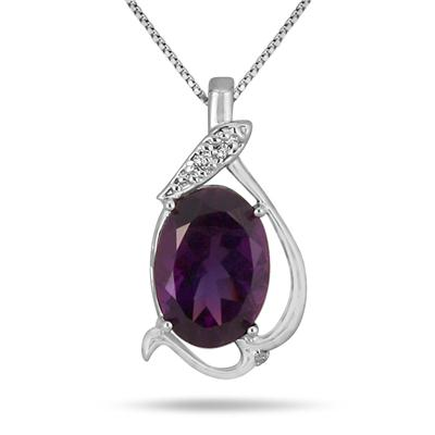6 Carat Amethyst and Diamond Pendant in .925 Sterling Silver