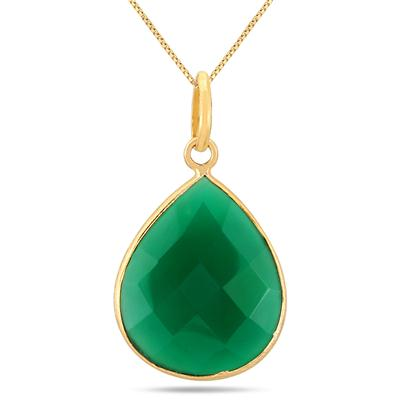 Emerald Tear Drop Pendant in 18K Gold Plated Silver