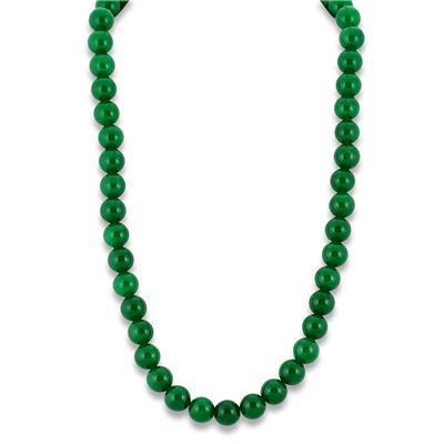 All Natural Green Jade Round Necklace Strand with Sterling Silver Clasp