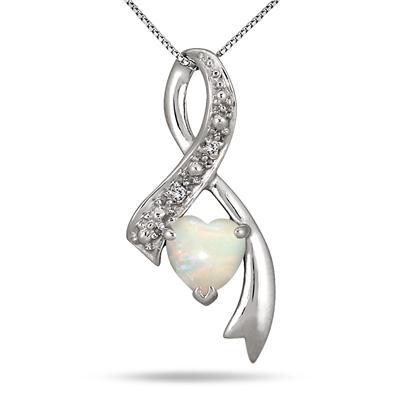 Heart Twist Opal and Diamond Ribbon Pendant in Sterling Silver