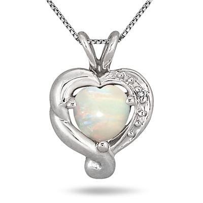 Heart Shape Opal and Genuine Diamond Pendant in .925 Sterling Silver