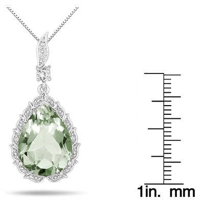 8.00 Carat Pear Shape Green Amethyst White Topaz and Diamond Pendant in .925 Sterling Silver