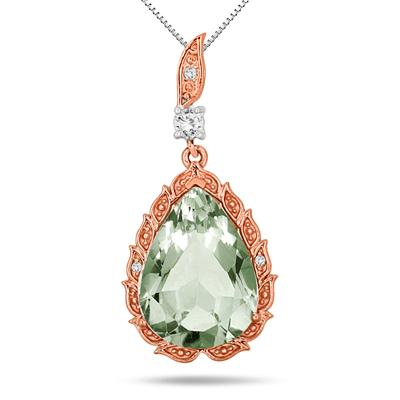 Pear Shape Green Amethyst White Topaz and Diamond Pendant in Rose Gold Plated .925 Sterling Silver