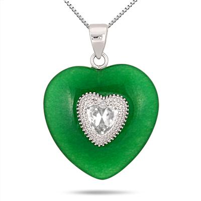 Green Jade Topaz and Diamond Heart Pendant in .925 Sterling Silver