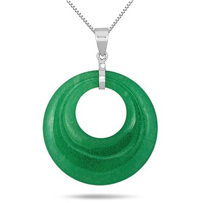 All Natural 40 Carat Jade Circle Pendant in .925 Sterling Silver