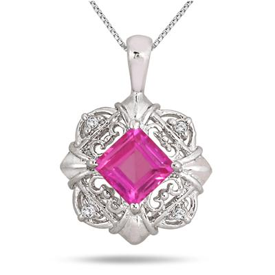 1.30 Carat Square Pink Topaz and Diamond Pendant in .925 Sterling Silver