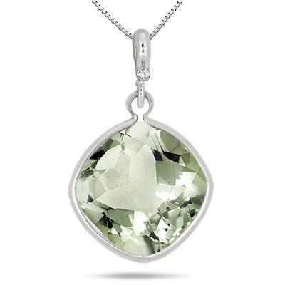 13.50 Carat Cushion Cut Green Amethyst and Diamond Pendant in .925 Sterling Silver
